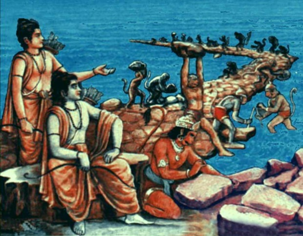 Lord Rama Constructing Bridge With Help Of  Monkeys