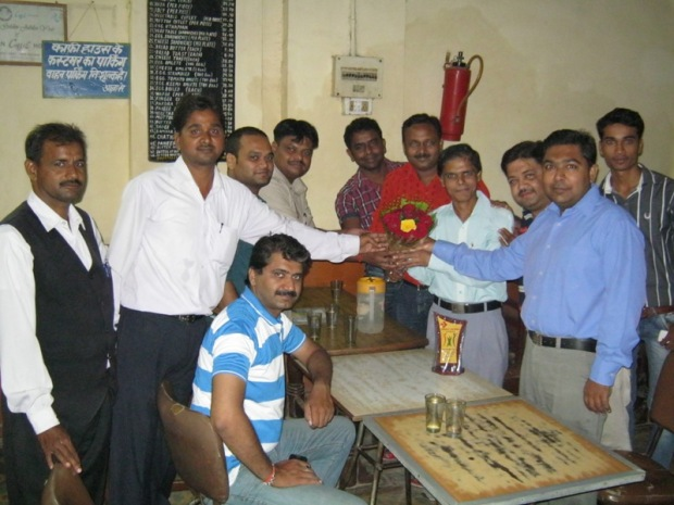 A section of lawyers belonging to Allahabad High Court, Allahabad, Felicitating Me At Historic Indian Coffee House in Allahabad...