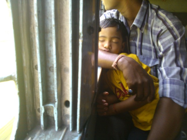 Innocence at its best..Sleeping baby inside the train's compartment!
