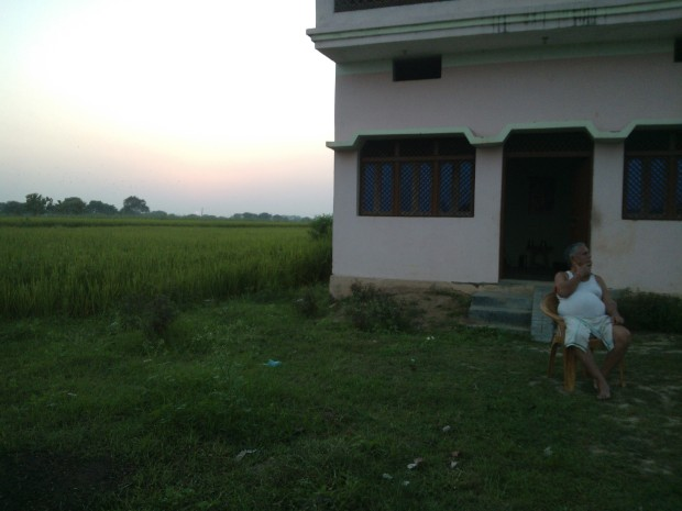 My Father Sitting Outside My New Home At Village...He Is Architect Of My Dreams At Village :P :P :P