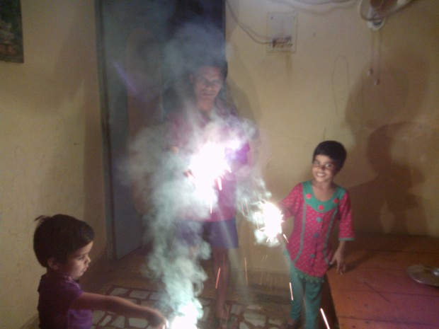 Celebrating Deepawali With Cute Nieces ....One of the reasons I had to cut short my village visit so as to not miss the celebrations with them...