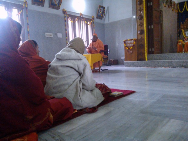Swami Nikhilatamanandaji, current head of this center in Allahabad, giving lecture on relevance of Swami Vivekananda's views in modern times!
