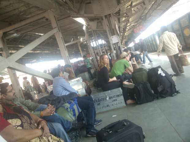 Varanasi sees foreign visitors throughout  the year but in Allahabad foreign visitors come only special occasions like Kumbh Mela, International Conferences and etc.  Here they are seen waiting for train at Allahabad Junction!