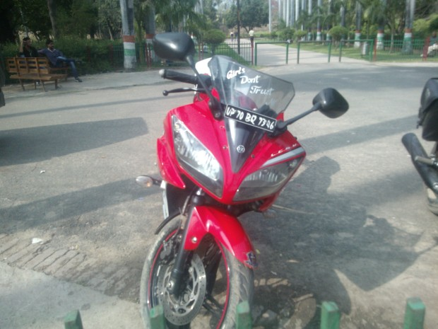 "Noticed this depressed motor bike inside Khusro Bagh :P :P :P  ""Girls don't trust me""  :P :P :P"