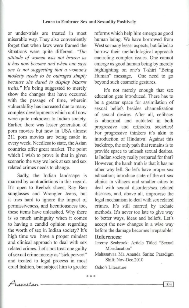 """""""Learn To Embrace Sex And Sexuality In A Positive Way""""by Arvind K.Pandey; Aavartan, Spring & Summer Edition, 2014."""