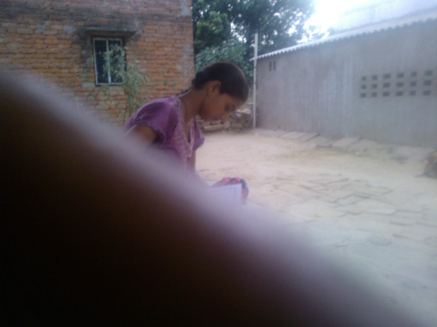 My best friend reading consciously my latest write-up...Glad that she showed a deep interest in it :P :P :P