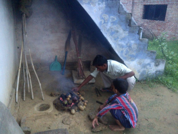 Litti ( An edible prepared from flour) being prepared :P :P :P