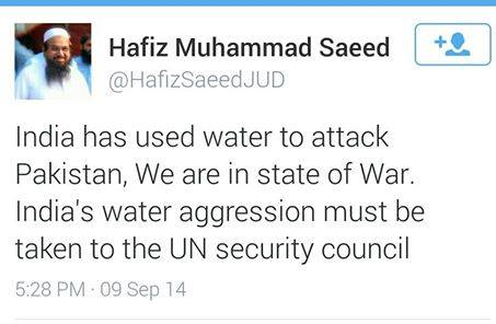 "Hafiz Saeed Treats Floods As ""Water Terrorism"" :P Pakistan is resting place of blockheads.  This statement asserts this unpleasant truth!"