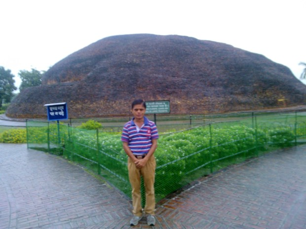 Standing Before Ramabhar Stupa In Kushinagar. Kushinagar is associated with  Parinirvana of Gautam Buddha!