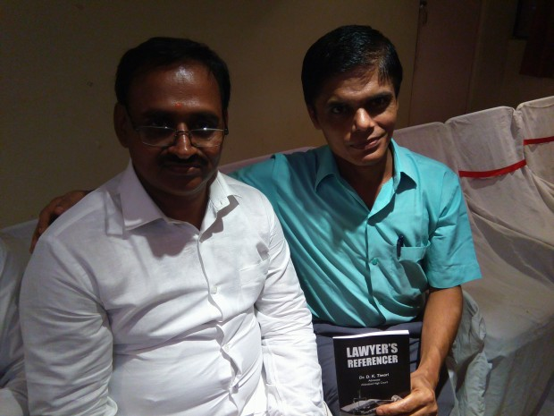 Writer of this post i.e. myself,  Arvind K. Pandey, Writer & Advocate,  with Devendra Kumar Tiwari, author of the recently launched book.