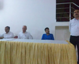 From Left To Right On Dais: Devendra Kumar Tiwari, Advocate & Author; B.N. Singh, Advocate, and Mr. Jaiswal, Advocate.