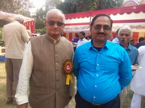 Dr Devendra Kumar Tiwari with Advocate Satish Chandra Upadhyay, President, Gita Mission For Cosmic Well- Being!