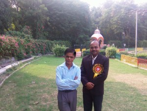 Writer of this post with his long time friend Advocate Shashikant Kushwaha. He is known for spreading Hindi at Allahabad High Court. I must say he is a selfless worker- a genuine follower of Nishkama Karma Yoga. This time too I found his name was missing from the card of the programme even as he was one of the key persons involved with this event. And I noticed that he did not create ruckus about it!!